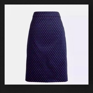 J. Crew The Pencil Skirt navy red polka dot